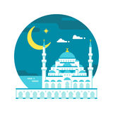 De vlakke Ramadan van de ontwerp blauwe moskee stock illustratie