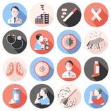 De Vlakke Reeks van astmapictogrammen stock illustratie