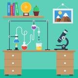 De vlakke reeks van de illustratiepictogrammen van de ontwerpstijl vector van wetenschap en technologische ontwikkeling Stock Afbeeldingen