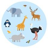 De vlakke reeks van dierentuinwilde dieren stock illustratie