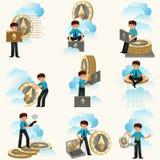 De vlakke reeks van Ethereumcryptocurrency royalty-vrije illustratie