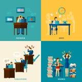 De Vlakke Reeks van frustratiepictogrammen stock illustratie