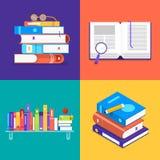 De vlakke reeks van het ontwerpconcept boeken De vector illustreert vector illustratie