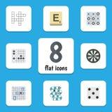 De vlakke Reeks van het Pictogramspel Gissing, Multiplayer, Pijl en Andere Vectorvoorwerpen Omvat ook Tac, Gissing, Renju-Element vector illustratie
