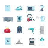 De vlakke Reeks van Kleurenpictogrammen Huishoudapparaten Stock Foto