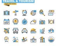 De vlakke reeks van lijnpictogrammen van reis en toerisme Stock Afbeeldingen