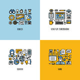 De vlakke reeks van lijnpictogrammen van SEO, UI en UX ontwerpen, SMM, u creatief Royalty-vrije Stock Afbeeldingen