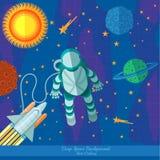 De vlakke ruimteachtergrond met planeten speelt ruimtevaarder en raket mee Stock Foto