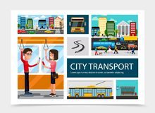 De vlakke Samenstelling van het Stadsvervoer stock illustratie