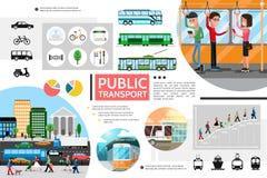 De vlakke Samenstelling van Openbaar Vervoerelementen vector illustratie