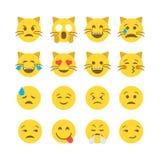 De vlakke stijl emoticon plaatste stock illustratie