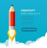 De vlakke stijl van de potloodillustratie Creatief begin voor presentatie, boekje, enz. royalty-vrije illustratie