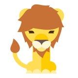 de vlakke stijl van het leeuwbeeldverhaal Royalty-vrije Stock Fotografie