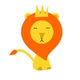 de vlakke stijl van het leeuwbeeldverhaal Royalty-vrije Stock Foto's