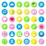De vlakke stijl van het Webpictogram op kleurrijke cirkelachtergrond met lange schaduw Stock Afbeeldingen