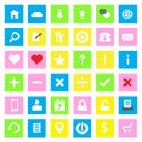 De vlakke stijl van het Webpictogram op kleurrijke rechthoekachtergrond Stock Afbeeldingen