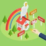 De vlakke symbolen voor advertentie over huur, kopen of verkopen een huis royalty-vrije illustratie