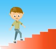 De vlakke trap van de stijl vectorillustratie aan succes in carrièreconcept Stock Afbeelding