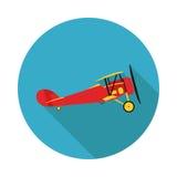 De vlakke tweedekker van pictogramvliegtuigen Stock Foto