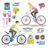 De vlakke van de het pictogramruiter van het fietsmateriaal vectorillustratie stock illustratie