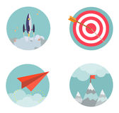 De vlakke van start ontwerp vastgestelde pictogrammen Zaken developmen Royalty-vrije Stock Afbeeldingen