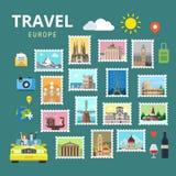 De vlakke vector van reiseuropa Engeland Italië Frankrijk Oostenrijk de Oekraïne royalty-vrije illustratie