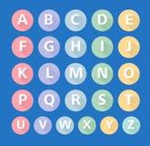 De vlakke vector, vlakke pictogrammen van alfabetpictogrammen, typografisch, ABC-karakter Royalty-vrije Stock Foto