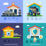 De vlakke vectorachtergrond van het huisveiligheidssysteem Royalty-vrije Stock Afbeeldingen