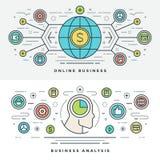 De vlakke Vectorillustratie lijn Online van het Bedrijfsanalyseconcept Stock Afbeelding