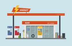 De vlakke vectorillustratie van het benzinestationbeeldverhaal stock illustratie