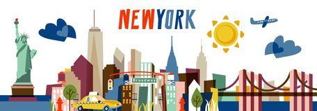 De Vlakke vectorillustratie van New York Reis en Toerismeconcept met moderne gebouwen vector illustratie