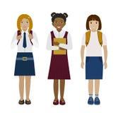 De vlakke vectorillustratie van schoolmeisjes Stock Afbeeldingen