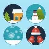 De vlakke Vectorillustraties van de Kerstmisscène Royalty-vrije Stock Afbeelding
