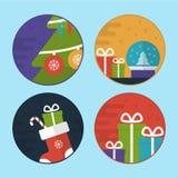 De vlakke Vectorillustraties van de Kerstmisscène Stock Afbeeldingen