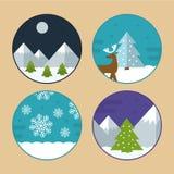 De vlakke Vectorillustraties van de Kerstmisscène Stock Afbeelding