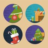 De vlakke Vectorillustraties van de Kerstmisscène Royalty-vrije Stock Foto's