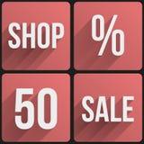 De vlakke verkoop van de pictogram vastgestelde winkel voor Web en Toepassing. Stock Foto's