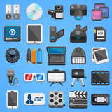 De vlakke video van pictogram vastgestelde foto Vector Royalty-vrije Stock Afbeeldingen