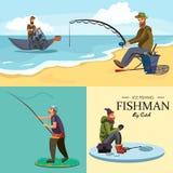 De vlakke vissershoed zit op kust met in hand hengel en vangt emmer en netto, Fishman gehaakte rotatie in Royalty-vrije Stock Afbeeldingen