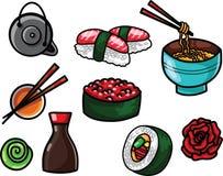 De vlakke voedsel vectorillustratie met Aziatische snacks, thee, noedels en Sushi rolt traditioneel zeewier stock afbeeldingen