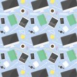 De vlakke voorwerpen van het ontwerpbureau - naadloos patroon Stock Afbeelding