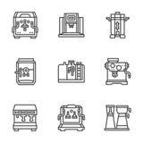 De vlakke zwarte machines van de lijnkoffie Stock Afbeeldingen