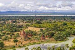De vlakte van Bagan Pagan, Mandalay, Myanmar stock afbeelding