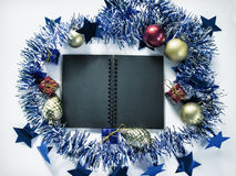 De vlakte van het Kerstmisdecor legt achtergrondfoto Uitstekende Kerstmisachtergrond Stock Foto's
