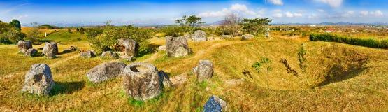 De Vlakte van kruiken laos Panorama Royalty-vrije Stock Afbeeldingen