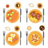 De vlakte van ontbijtpictogrammen met vier opties van voedsel wordt geplaatst dat Royalty-vrije Stock Foto