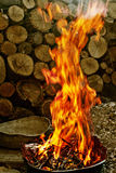 De vlam van de brand met brandhout Stock Afbeelding