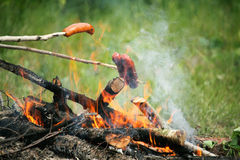 De Vlammen die van de het kampvuurbrand van het vuur lapje vlees op BBQ roosteren Royalty-vrije Stock Fotografie