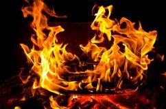 De vlammen staken de brand aan, die zijn warmte in koud weer verwarmen Regels van het veilige fokken van brand Royalty-vrije Stock Foto's