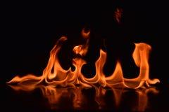 De vlammen van de brand op zwarte achtergrond Royalty-vrije Stock Foto